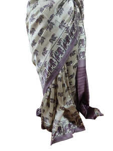 Light Beige Dupion Silk Saree with Blouse Fabric VAS02 - Ethnic's By Anvi Creations