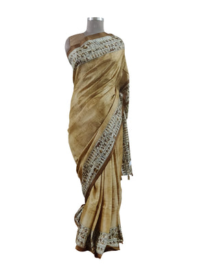 Light Brown worli Print Dupion Silk Saree with Blouse Fabric VAS03 - Ethnic's By Anvi Creations