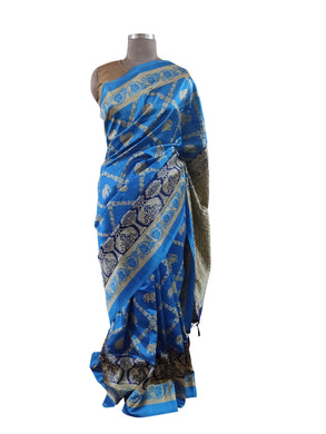 Blue Printed Dupion Silk Saree with Blouse Fabric VAS04 - Ethnic's By Anvi Creations