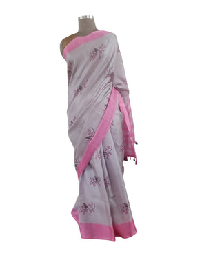 Grey Pink Border Bird Printed Dupion Silk Saree with Blouse Fabric VAS06 - Ethnic's By Anvi Creations