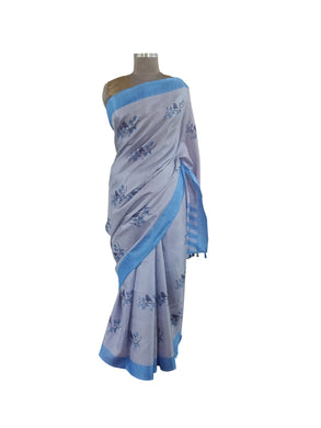 Grey Blue Border Bird Printed Dupion Silk Saree with Blouse Fabric VAS07 - Ethnic's By Anvi Creations