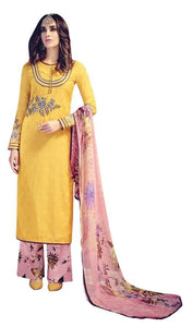 Designer Yellow Embroidered Pashmina Winter Dress Material with Chiffon Dupatta VN25 - Ethnic's By Anvi Creations