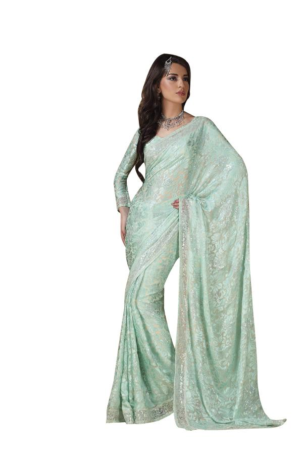Designer Green Brasso Georgette Embroidered Saree SC962c - Ethnic's By Anvi Creations