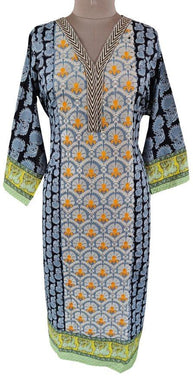 Designer Black Semi Stitched Kurti Kurta Embroidered ZS2A - Ethnic's By Anvi Creations
