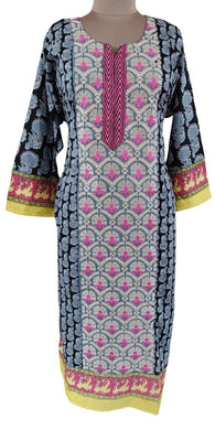 Designer Pakistani Gray Semi Stitched Kurti Kurta Embroidered ZS2B