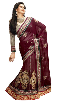 Maroon Georgette Embroidered Lehenga Saree Z3312 - Ethnic's By Anvi Creations