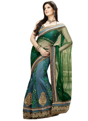 Green Blue Net Silk Embroidered Lehenga Saree Z3316 - Ethnic's By Anvi Creations