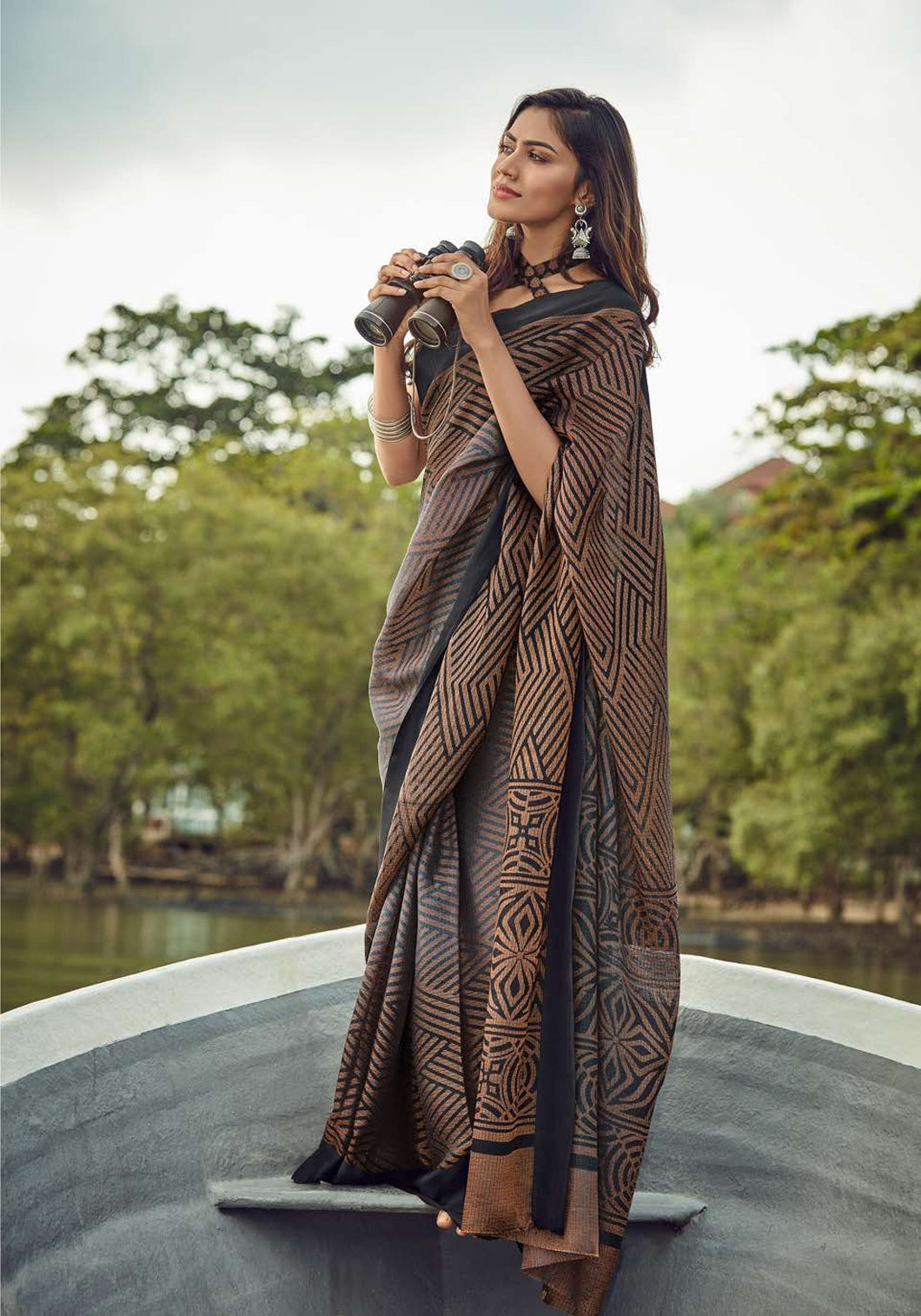 Designer Brown Kota Brasso Cotton Silk Saree ZU01 - Ethnic's By Anvi Creations