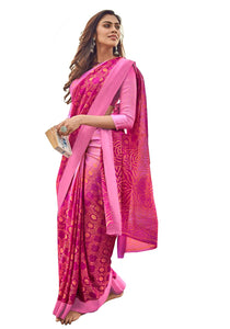 Designer Pink Kota Brasso Cotton Silk Saree ZU03 - Ethnic's By Anvi Creations