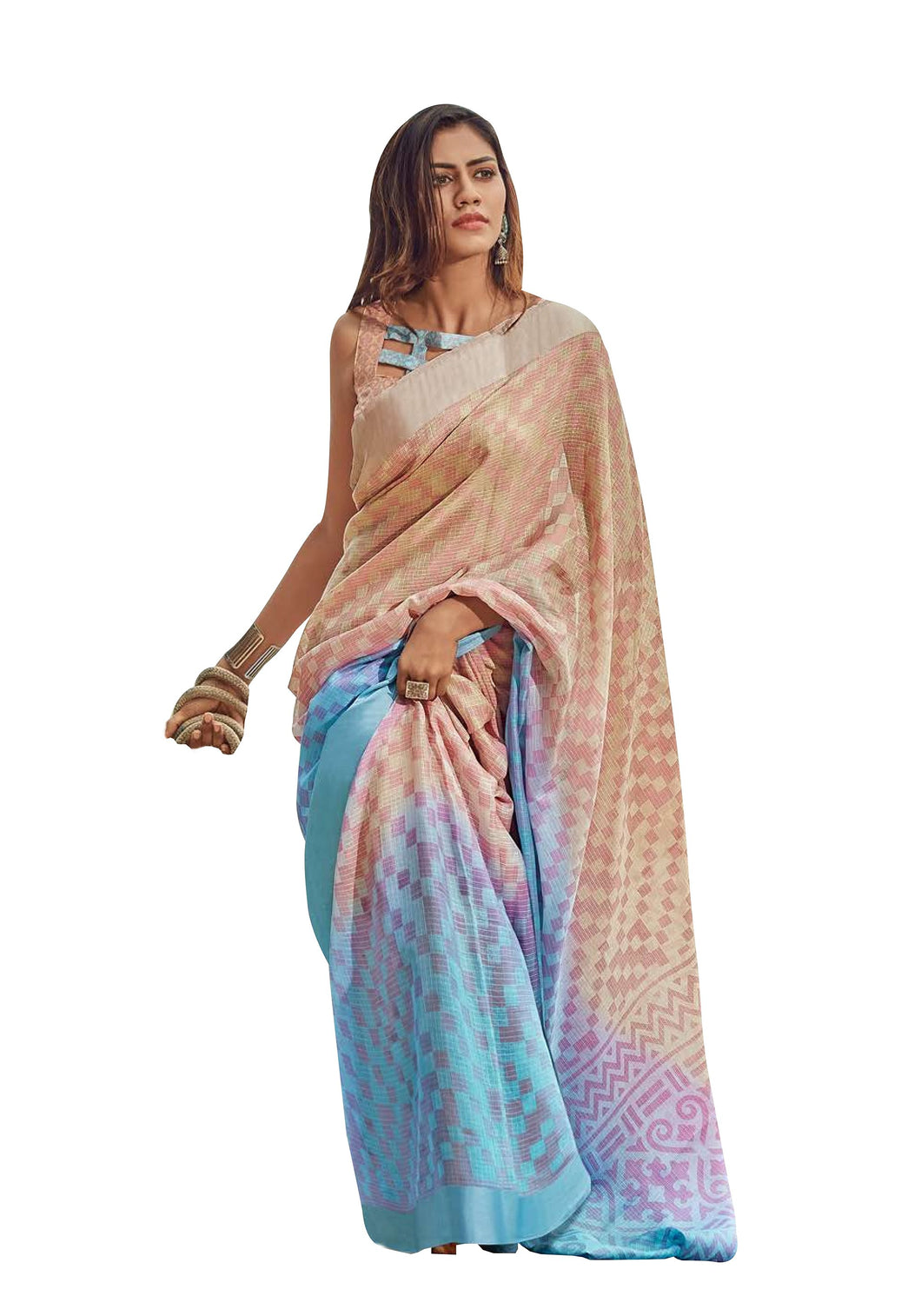 Designer Beige Blue Kota Brasso Cotton Silk Saree ZU05 - Ethnic's By Anvi Creations