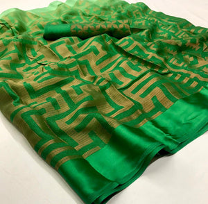Designer Green Kota Brasso Cotton Silk Saree ZU06 - Ethnic's By Anvi Creations