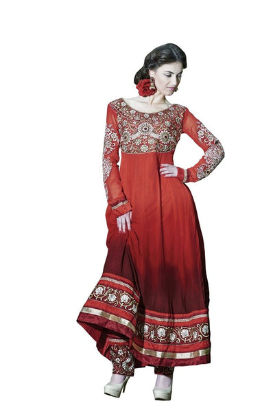 Designer Semi Stitched Shaded Georgette Red Anarkali Dress Material SC2002