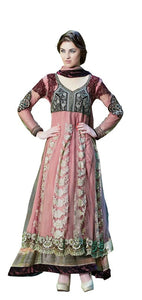 Designer Net Semi Stitched English Pink Anarkali Dress Material SC2007 - Ethnic's By Anvi Creations