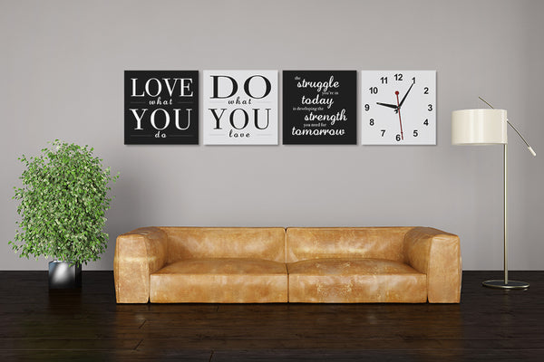 Positive Quotes on Life Wall Art Clock (Z4640)