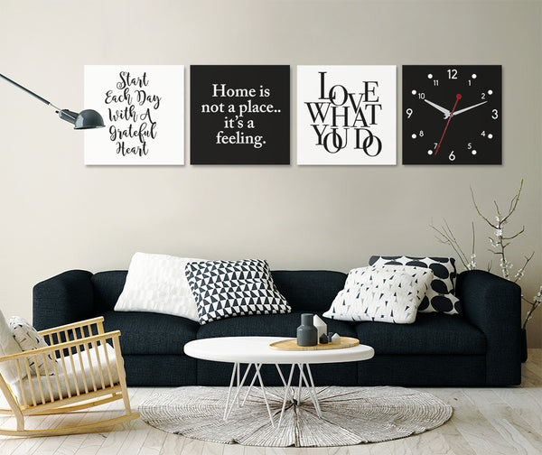 Positive Quotes on Life Wall Art Clock (Z4642)