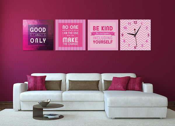 Positive Quotes on Life Wall Art Clock (Z4644)