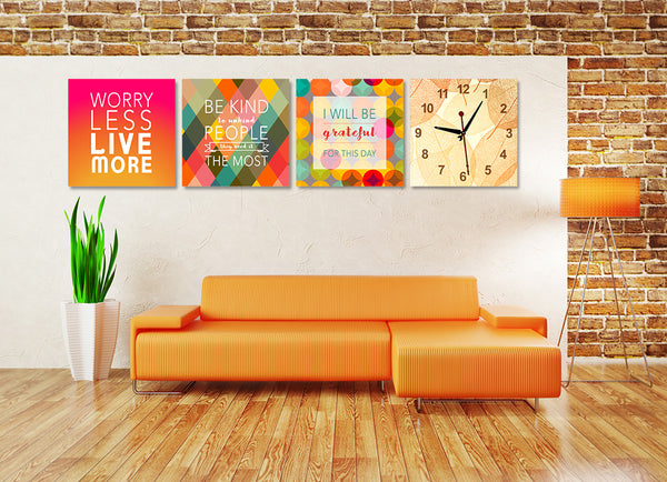 Positive Quotes on Life Wall Art Clock (Z4645)