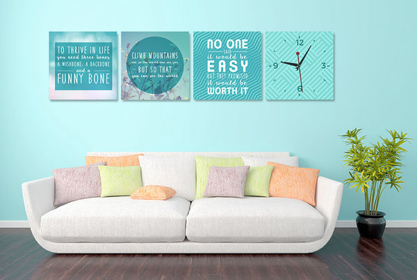 Positive Quotes on Life Wall Art Clock (Z4647)