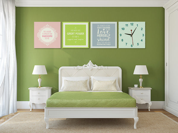 Positive Quotes on Life Wall Art Clock (Z4648)