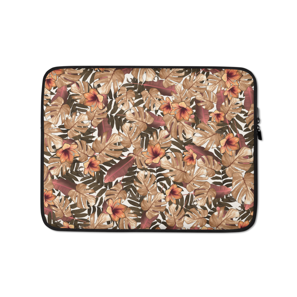 Orange Floral Laptop Sleeve - Laptop Bags Australia