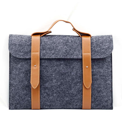 Leather Strip Wool Laptop Sleeve 10-inch - Laptop Bags Australia
