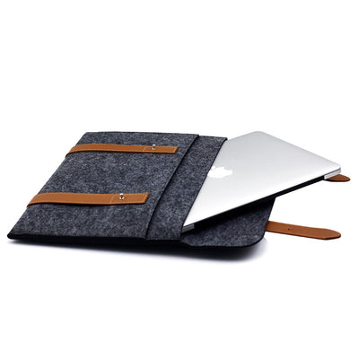 Leather Strip Wool Laptop Sleeve 13-inch