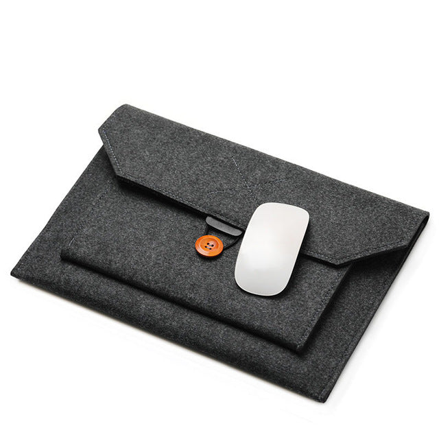 The Buttoned Wool Laptop Sleeve - Laptop Bags Australia