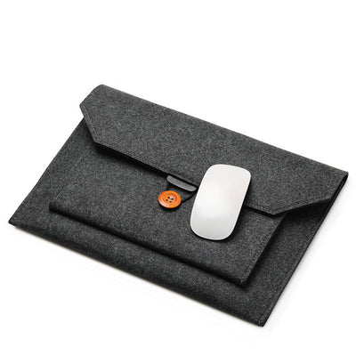 The Buttoned Wool Laptop Sleeve 14-inch - Laptop Bags Australia