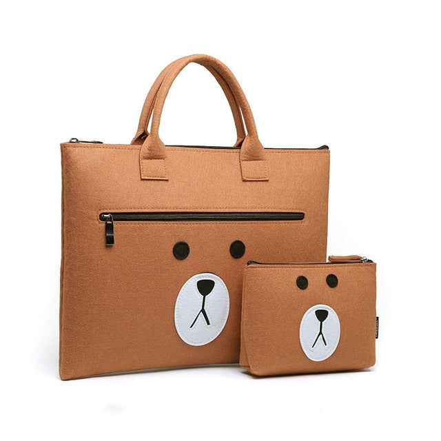 Teddy Bear Wool Laptop Sleeve Bag Set - Laptop Bags Australia