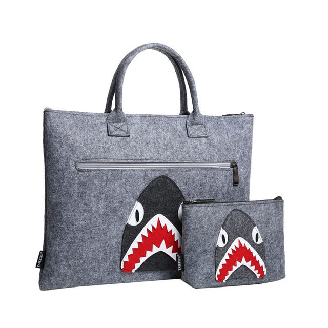 Hungry Shark Wool Laptop Sleeve Bag Set