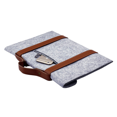 Leather Strip Wool Laptop Sleeve 10-inch