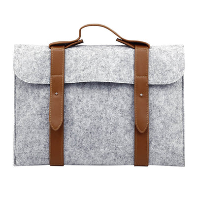 Leather Strip Wool Laptop Sleeve 11-inch - Laptop Bags Australia