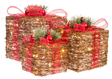 Load image into Gallery viewer, Rattan Collection Set 3 LED Gift Boxes