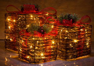 Rattan Collection Set 3 LED Gift Boxes