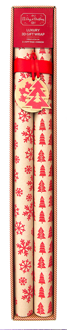 Textured Gift Wrap - 2 Roll Set x Snowflakes | Christmas Trees