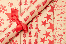 Load image into Gallery viewer, Textured Gift Wrap - 2 Roll Set x Stars | Merry Christmas