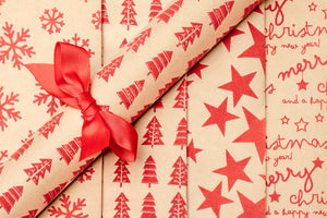 Textured Gift Wrap - 2 Roll Set x Stars | Merry Christmas