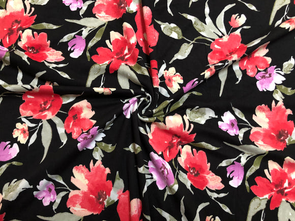 4 Way Stretch DTY Double Sided Brushed Pink Green Purple Roses and Flowers Fabric