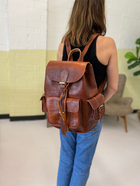 Journey Backpack in cognac