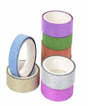 2PCS/Pack Adhesive Silver Golden Glitter Washi Tape For Scrapbooking & Gift Decor