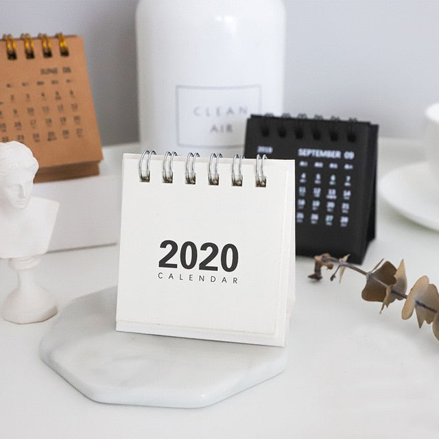 2020 Retro Kraft Paper Coil Desk Calendars & Daily Scheduler