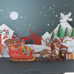 Pop UP Christmas Card Laser Cut With Santa's Sleigh and Reindeer