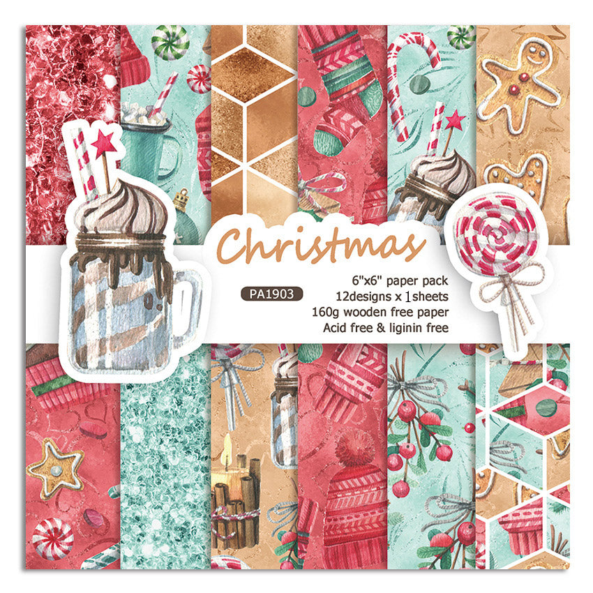 12 Sheets Christmas Scrapbooking Paper