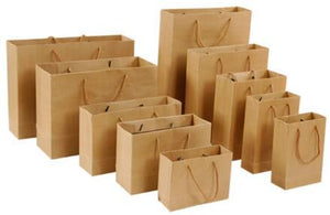 10pcs Gift Bag - Solid Black, White, or Brown Craft Paper
