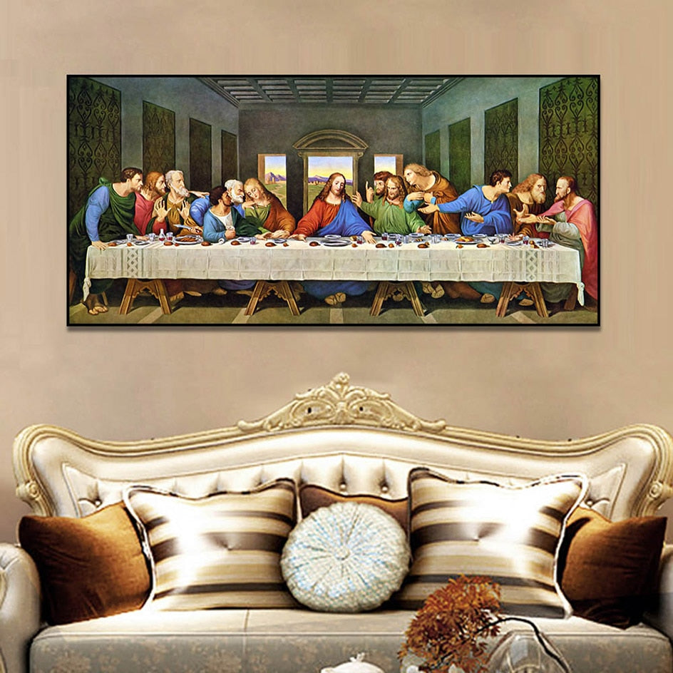 Leonardo Da Vinci's Last Supper Rich Color Print on Canvas
