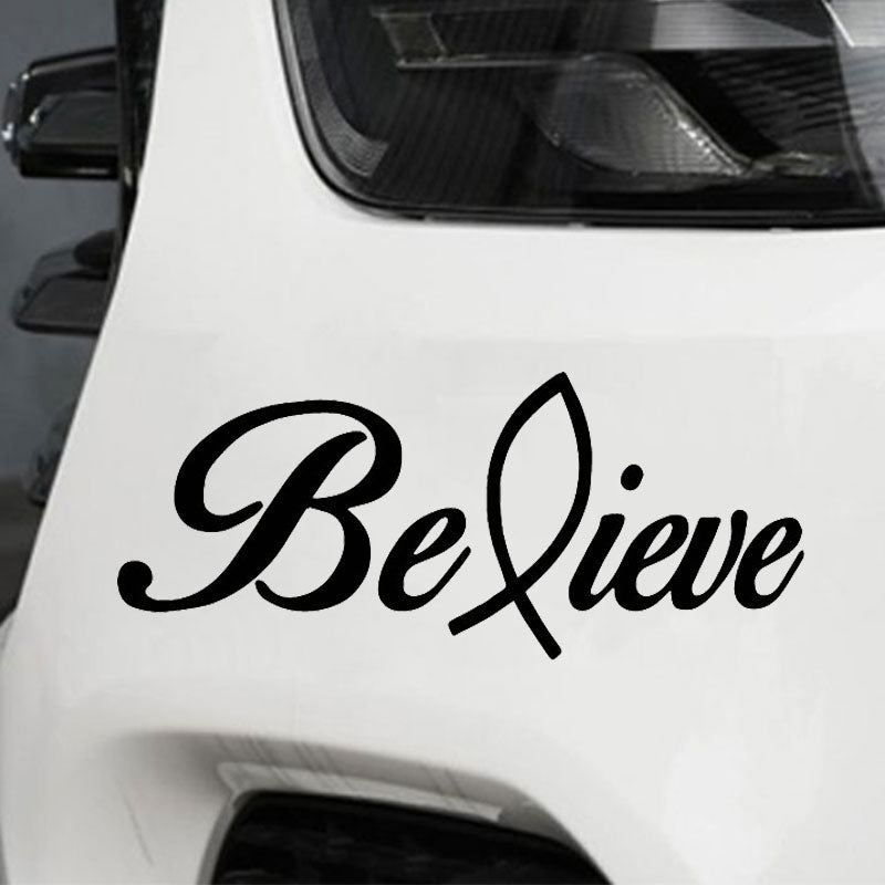 "Vinyl Car Decoration Decal, Jesus Fish ""Believe"""