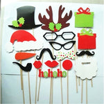 17Pcs Paper Christmas Party Photo Booth Props