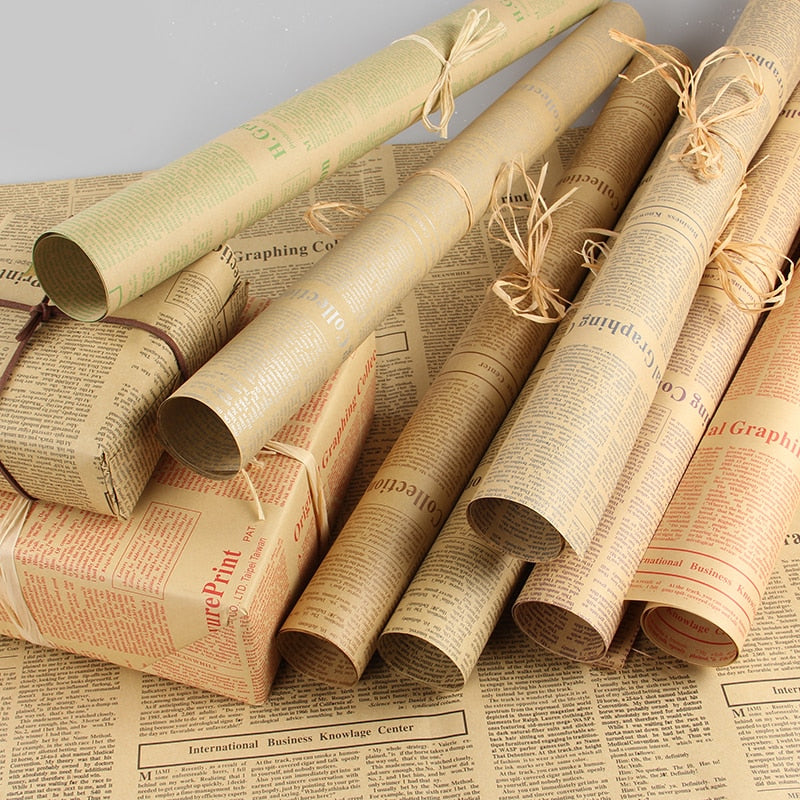10 Sheets Dbl Sided Vintage Newspaper & Other Vintage Designed Gift Wrap