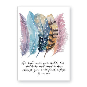 Canvas Art Print of Watercolor Painting of Bird's Feathers & Scripture to Go With