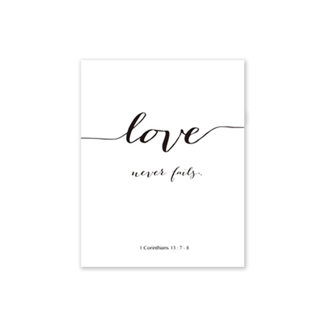 """Love Is Patient Love Is Kind"" Plus 3 more quotes. Bible Verses on Canvas Print"